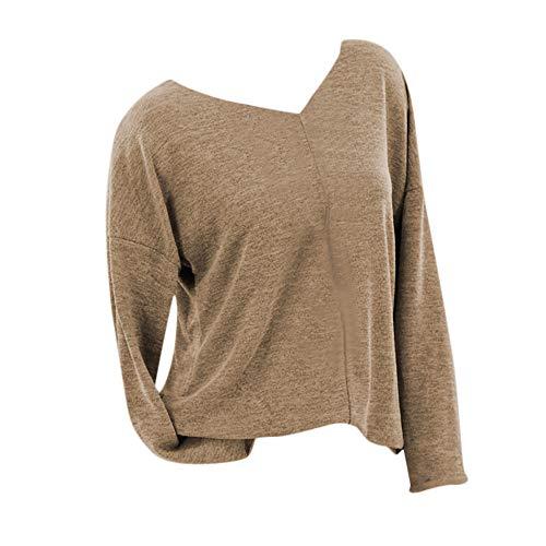iHENGH Damen Herbst Winter Bequem Lässig Mode Frauen beiläufiges strickendes festes langes Hülsen T-Shirt mit V Ausschnitt Strickjacke Bluse