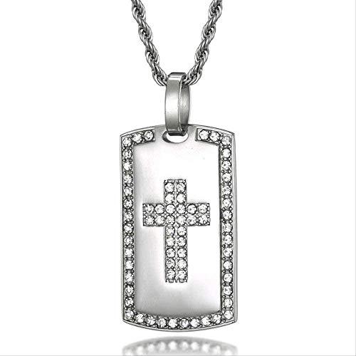 NC86 Collar Cruzado Bling Ice-Cold Cross Dog Tag Colgante y Collar de Acero Inoxidable con Diamantes de imitación Micro incrustados