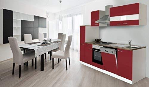 respekta keuken kitchenette inbouwkeuken keukenblok 250 cm wit rood soft close