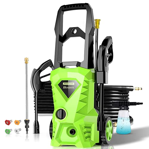 powertec pressure washers Homdox 2500PSI Electric Pressure Washer 1.6GPM Power Washer 1600W High Pressure Cleaner Machine with 4 Nozzles Foam Cannon,Best for Cleaning Homes, Cars, Driveways, Patios (Green)