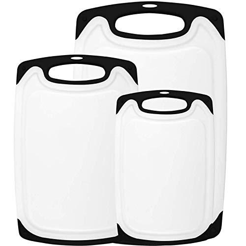 Gpure Tablas de Cortar Cocina de Plástico Juego de 3 Piezas L M S Blanca Profesional Alta Densidad Indeformable Sin BPA para Pan Recogemigas Queso