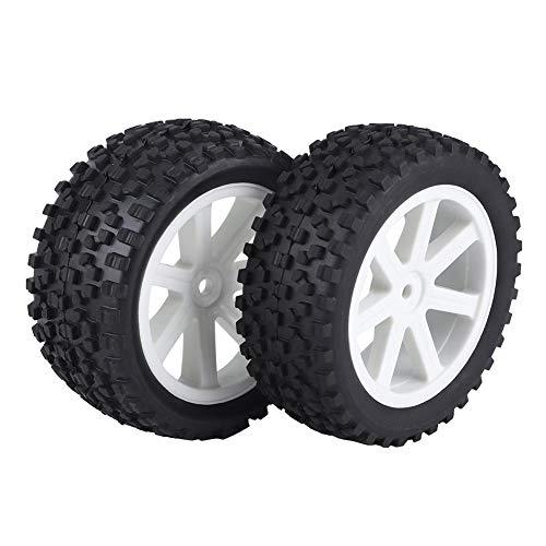 Drfeify 4pcs 1/10 RC Camión Neumático de Goma Rueda Wheel Tyre para ZD Racing Buggy Crawler Car(Blanco)
