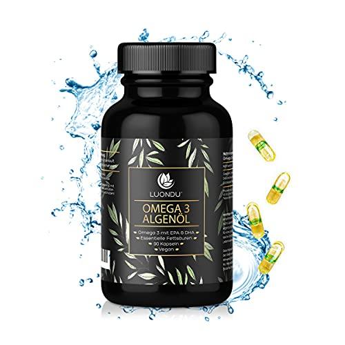 Luondu Omega 3 Vegan [ 1500 mg ] - 90 Kapseln - Premium Omega 3 Fettsäuren Algenöl 525 DHA + 250 EPA pro Tagesdosis I 100{881b3ba17863f2bc2370d90a3a79fac1425242bf1649a171550473c67a80759c} pflanzlich - Unterstützt normale Gehirnleistung & Sehkraft