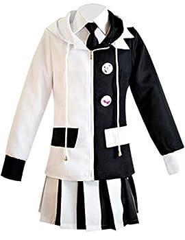 Ainiel Monokuma Costume Black White Bear Cosplay Anime School Uniform Outfit  Black White Medium