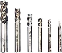 End Mill Bits, HSS CNC End Mill Cutter for Wood, Aluminum, Steel, Titanium, Straight 4..