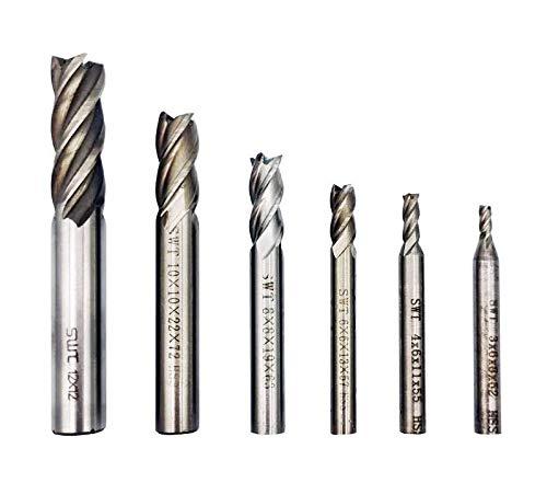 End Mill Bits, HSS CNC End Mill Cutter for Wood, Aluminum, Steel, Titanium, Straight 4 Flute Mill Bit Set of 6(3mm,4mm,6mm,8mm,10mm,12mm)