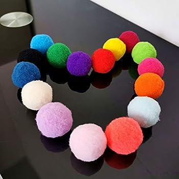Eighty Lot de 10 balles souples pour chat et chat - 3 cm - Mélange de couleurs - Pompon - Jouet interactif en peluche pour animaux et chats