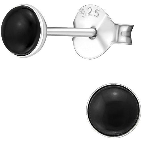 EYS JEWELRY runde Ohrstecker für Damen und Kinder Onyx-schwarz 925 Sterling Silber 4 mm Mädchen Ohrringe Damenohrringe Damenohrstecker