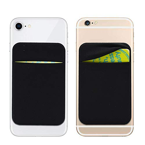 Arlgseln Neoprene Cell Phone Card Holder 6 Cards Adhesive Mini Secure Wallet ID Credit Card Pocket Purse Stick on Smartphone for iPhone 13 Pro Max/12/11/XR,Samsung S21Ultra/S20FE/A32/A51 (Black)