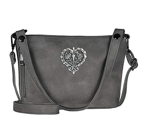 Trachten-Handtasche Dirndltasche Umhängetasche Kunst-Leder anthrazit-grau Silber metallic