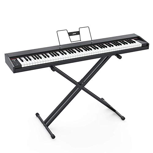 LAGRIMA LAG-600 Full Size Key Portable Digital Piano, 88 Key Electric Keyboard Piano with X Stand, Bluetooth, Sustain Pedal, Power Supply, Music Stand for Beginner/Adults, Black