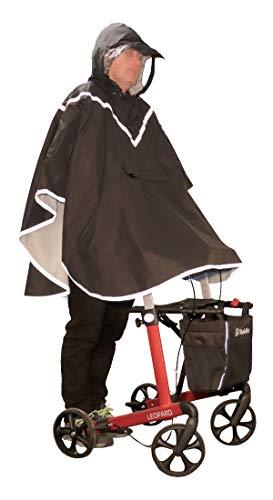 FabaCare Regenjacke Poncho für Rollator Nutzer, Regenponcho mit Sichtfenster und Reflektoren, Rollator-Jacke mit Kapuze, grau