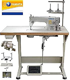 Yamata Industrial Sewing Machine FY-8700 Lockstitch Sewing Machine with Servo Motor + Table Stand + LED Lamp Commercial Grade Sewing Machine for Sewing All Types of Fabrics (DDL-8700)