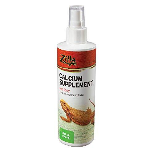 Zilla Reptile Health Supplies Calcium Supplement Food Spray, 8-Ounce