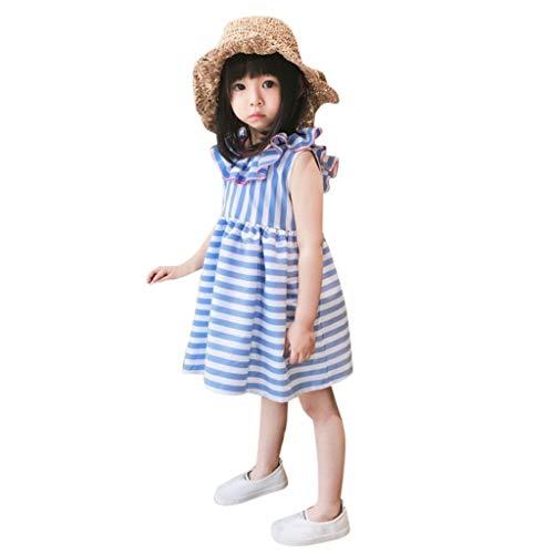 YUAN YUAN 0-4 Jahre Kleider Kleinkind Kinder Baby Mädchen Fliegenhülse Rüschen Streifen Bänder Bogen Sommerkleider