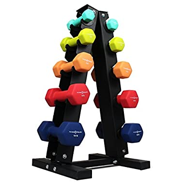 Fitness Republic Neoprene Dumbbells Pairs (2lb, 4lb, 6lb, 8lb, 10lb) with 5 Tier Rack