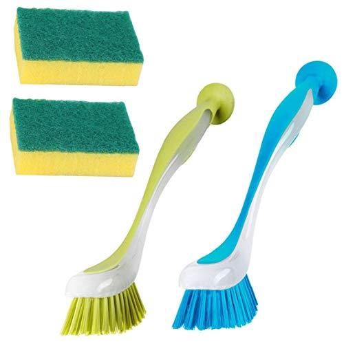 IUwnHceE Limpieza del depurador del Cepillo para Lavar la vajilla de Cocina Exfoliante Esponja 2 friega el Cepillo para el Plato 2 Esponja 4PCS Decoración Accesorios