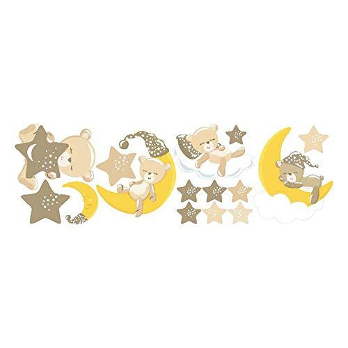 GLITZFAS Bärchen Wandtattoo Wandaufkleber, Stern und Mond, Wand Sticker Wanddeko für Kindzimmer