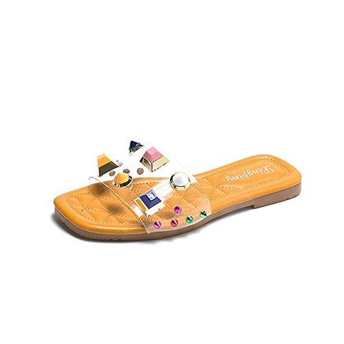 Sandales pour Femmes,Dames Mignonnes GeléE éTé Chaussures De Plage Transparentes,Sandales De Plage D'éTé AntidéRapantes,Chaussures De Plage à Bout Ouvert,Sandales en Strass,Sandales Claires LéGèRes