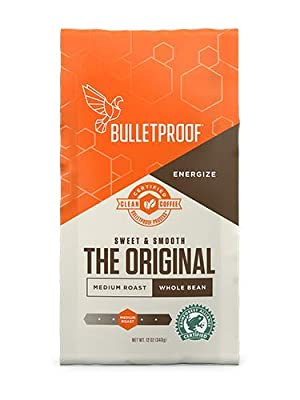 Bulletproof The Original Whole Bean Coffee, Medium Roast, 12 Oz, Keto Friendly, Certified Clean Coffee, Rainforest Alliance, Whole Bean