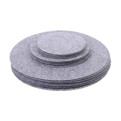 LQKYWNA Felt Plate Dividers, Soft Separators Set of 3 Sizes Pads Cookware Bakeware Pot Stacking Protectors Kitchen Dinnerware Storage (Grey)