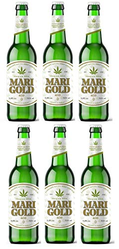 6 botellas CERVEZA PREMIUM MARIGOLD 5,8º 33cl Cerveza con proteína de cáñamo