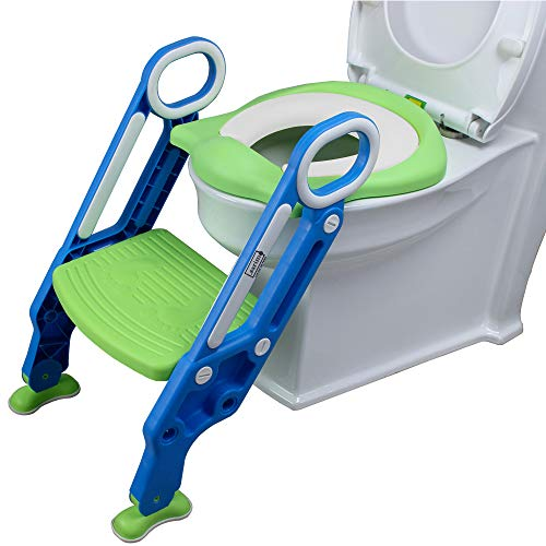 Lsarimo Foldable Potty Training Seat Chair with Safe Handrails, Non-Slip Toilet Potty Stand and Ladder for Kids (Blue+Green)