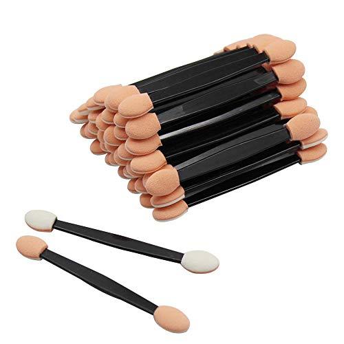 JUN-H Pinceau à Paupières Jetable Maquillage Ovale Double Applicateur D'éponge à Double Face pour éponge pour Les Femmes et Les Filles qui Utilisent le Maquillage Quotidien (100 Pièces)