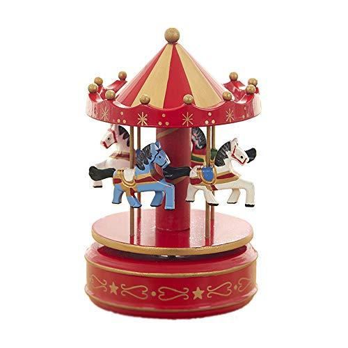 MINGZE Cajas Musicales, Caja de música de Madera Europea con 4 Caballos con carrusel, para niñas Niños Niños Bebé Navidad Cumpleaños Cumpleaños Regalo (Star-Red)