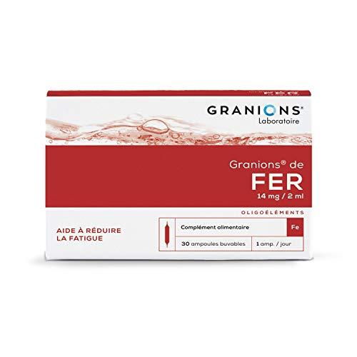 Granions de Fer - Carence, Fatigue & Sensibilité aux infections - 30 ampoules = 1 mois - Aide à réduire la fatigue - 14 mg de Fer - Marque française
