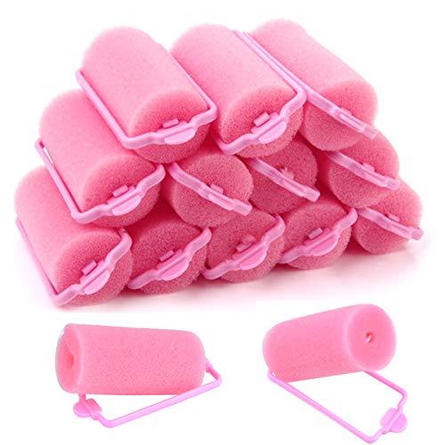 32 Stück Lockenwickler Schwamm Schaum Haar Rollen rosa Haarrollen weichen Schwamm Lockenwickler DIY Haar Friseur Tools für Frauen und Kinder Styling (30 mm)