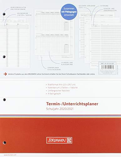 BRUNNEN 1075700001 Wochen-Ersatzkalendarium/Lehrerkalender, Termin- & Unterrichtsplaner 2020/2021, 2 Seiten = 1 Woche , Überformat A4: 23 x 29,7 cm