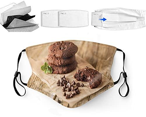 ETHAICO Mode Herbruikbare Wasbare Gezichtsdekking Unisex, voor Motorfiets Fiets Running Fietsen en Buiten, Met Filter, Chocolade Drops op een