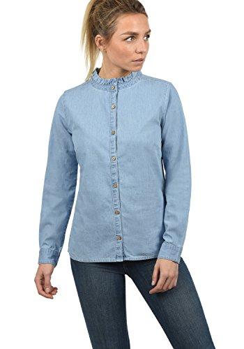 BlendShe Dina Damen Lange Jeansbluse Hemdbluse Langarm Mit Stehkragen Aus 100% Baumwolle, Größe:M, Farbe:Light Blue (20248)