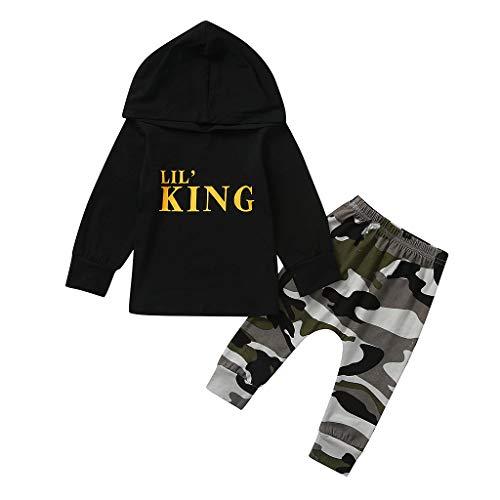 Allence Baby Kinder Langarm Outfits Set Baby Jungen Gestreiftes Hoodie Spielanzug +Camouflage Hosen 2 Pcs Baby Kleidungsset für Frühling und Herbst Winter
