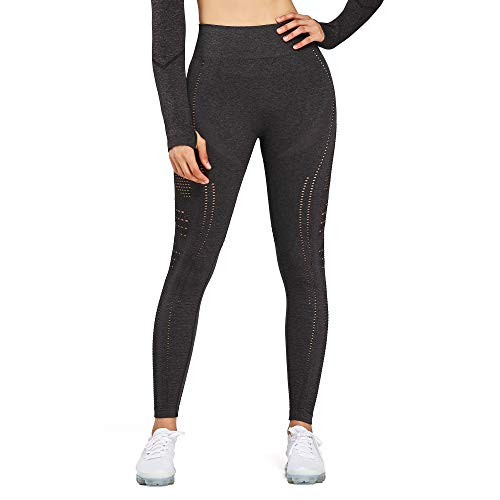 Aoxjox Women's High Waist Workout Gym Vital Seamless Leggings Yoga Pants (Flawless Knit Black Charcoal Marl, Small)