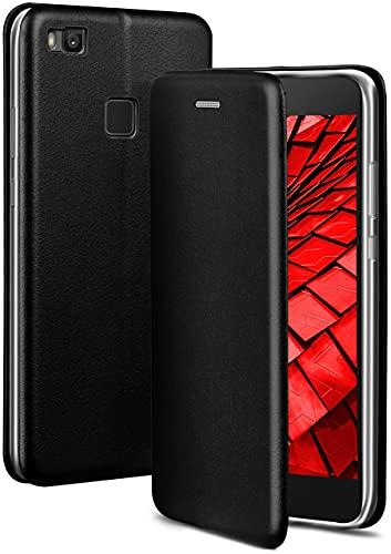 ONEFLOW Handyhülle kompatibel mit Huawei P9 Lite - Hülle klappbar, Handytasche mit Kartenfach, Flip Hülle Call Funktion, Leder Optik Klapphülle mit Silikon Bumper, Schwarz