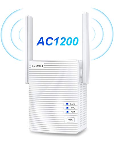 BrosTrend 1200Mbps WiFi Range Extender Signal Booster Repeater, Add Coverage up to 1200 sq.ft. in Your House, Extend 2.4GHz & 5GHz Wi-Fi, Easy Setup