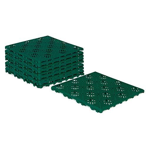 IDMarket - Lot de 10 Dalles caillebotis de Jardin Vert 29.5x29.5 CM