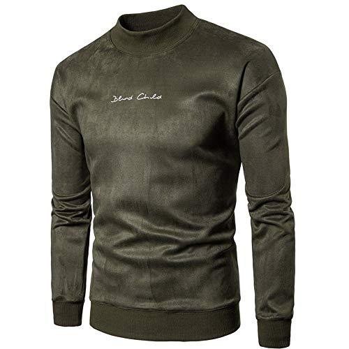 Aiserkly Herren Rundhals Pullover Langarmshirt Winterpullover Sweater Freizeit Slim fit Basic Männer Rollkragenpullover Poloshirts Sweatshirts Grün L