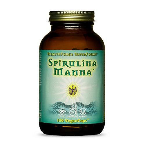 HealthForce SuperFoods Spirulina Manna - 150 VeganCaps - Certified Spirulina, Superfood - Plant-Based Protein - Rich Source of Vitamin A - Non-GMO, Gluten Free - 30 Servings