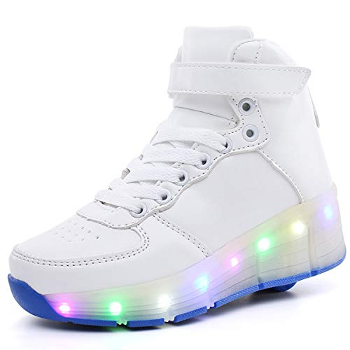 AYUSHOP Zapatillas con ruedas, ruedas de patín de patinaje individual redondo alto, zapatos de rodillo LED con interruptor de carga USB, zapatillas de patinaje para niño niña con 7 colores de luz