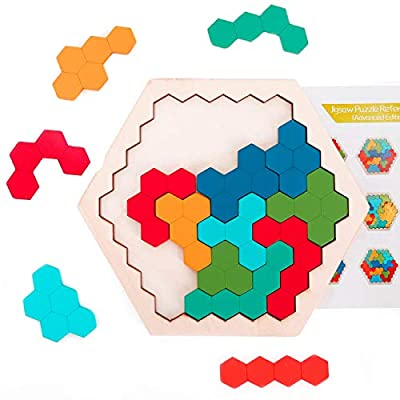 Ranslen Wooden Hexagon Puzzles for Kids Adults, Hexagon Shape Block Tangram Brain Teaser Puzzle Logic IQ Game STEM Puzzles for Kids Ages 3 and Up, Educational Puzzle Gift for All Ages Challenge