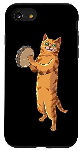 iPhone SE (2020) / 7 / 8 Funny Cat Playing Tambourine Gift | Cute Kitten Musician Fan Case