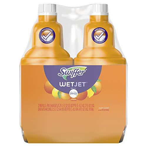 Swiffer WetJet Multi-Purpose Floor and Hardwood Cleaner Solution Refills, Sweet Citrus and Zest Scent, 1.25 Liter (Pack of 2)