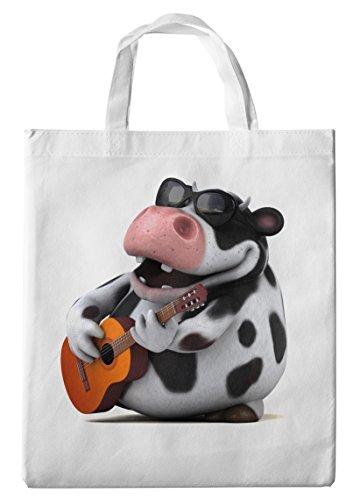 Merchandise for Fans Einkaufstasche- 38x42cm, 8 Liter - Motiv: 3D Comic Kuh mit Sonnenbrille und Gitarre - 03