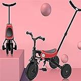 GST Triciclos Triciclo Trike NIÑOS NIÑOS Tres RUEDOS Balance BICKES/BICICLETE Bicicleta/Walker/Carrito, Plegado de un Solo Clic, Ligero y fácil de Transportar, 3 Colores (Color: Rosa)
