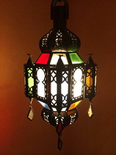 Orientalische Lampe Pendelleuchte Bunt Mahira 35cm E14 Lampenfassung | Marokkanische Design Hängeleuchte Leuchte aus Marokko | Orient Lampen für Wohnzimmer Küche oder Hängend über den Esstisch