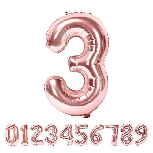 Globo Número Gigante Metalizado – Numeros Gigantes y Metalizados 0 1 2 3 4 5 6 7 8 9, 30 40 50 - Globos para Fiesta y Decoración – Globos de Cumpleaños Boda y Aniversario (Oro Rosa, 3)