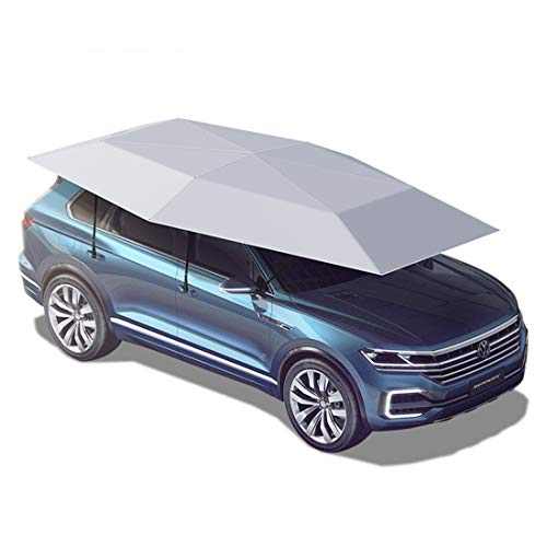 Semi-Automatic Car Tent Movable Carport Folded Portable Automobile Protection Car Umbrella Sunproof Sun Shade Canopy Cover Universal 165X91 inch / 4.2X2.3m,Silver